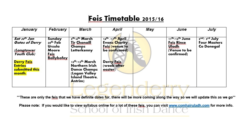 Updated Feis Timetable 2015-16
